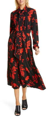 Tory Burch Paisley Bow Neck Long Sleeve Midi Dress