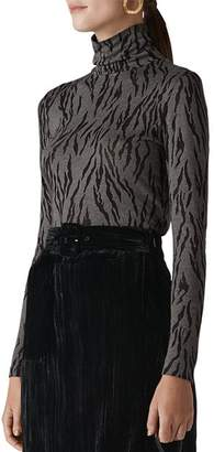 Whistles Tiger-Print Turtleneck Top