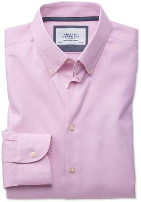 Charles Tyrwhitt Extra Slim Fit Button-Down Business Casual Non-Iron Light Pink Cotton Dress Shirt Single Cuff Size 15.5/33