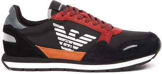 Emporio Armani Black & Red Suede And Nylon Sneakers