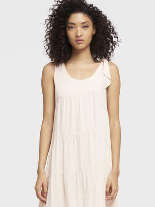 DKNY Tiered Scoop Neck Dress With Shoulder Tie