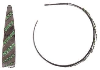 Lana 14K Black Gold Gradient Tsavorite Hoop Earrings