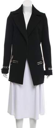 Anthony Vaccarello Leather-Trimmed Embellished Coat