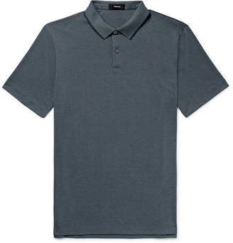 7b7d6ce513a Theory Contrast-Tipped Pima Cotton-Blend Piqué Polo Shirt
