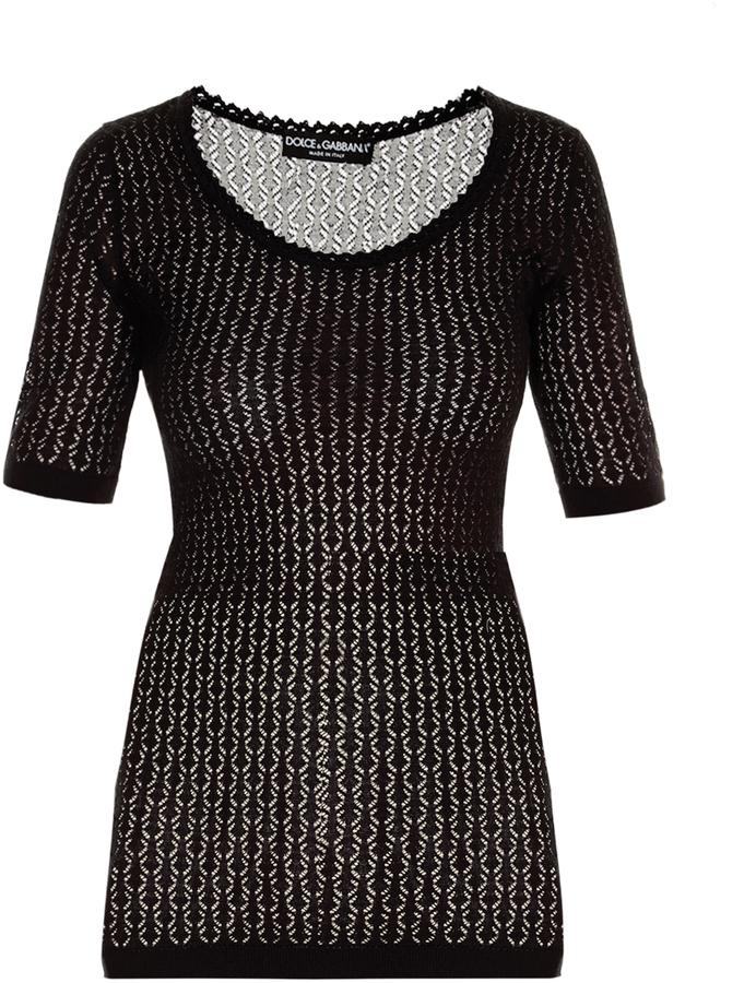 Dolce & GabbanaDOLCE & GABBANA Scoop-neck chevron-knit sweater