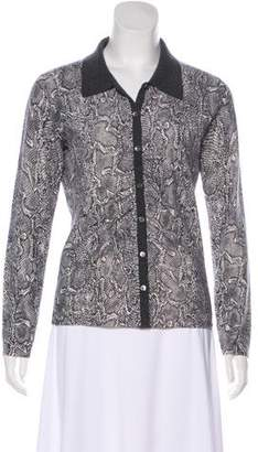 Neiman Marcus Patterned Cashmere Top
