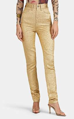 Maison Margiela Women's Cotton-Blend Brocade Slim Five-Pocket Trousers - Gold