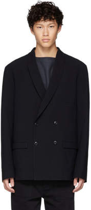 Lemaire Blue Wool Double-Breasted Blazer
