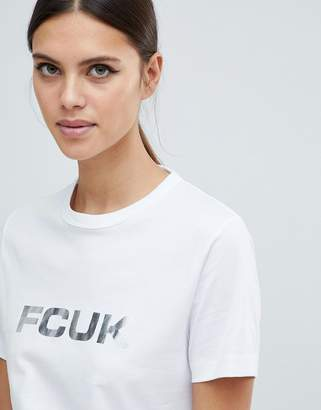 French Connection Bold T-Shirt with Metallic Logo