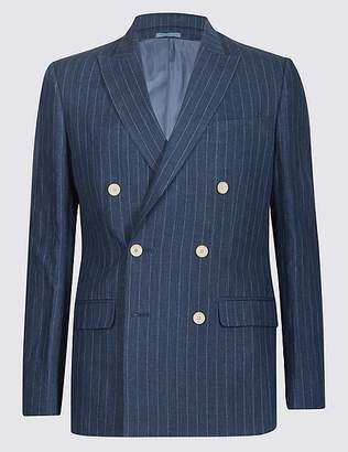 Marks and Spencer Pure Linen Tailored Fit Striped Jacket