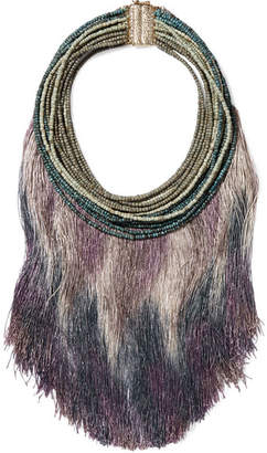 Rosantica Havana Tasseled Beaded Necklace - Purple