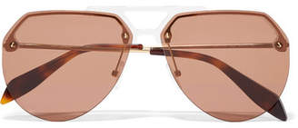 Alexander McQueen Aviator-style Acetate And Gold-tone Sunglasses - Brown