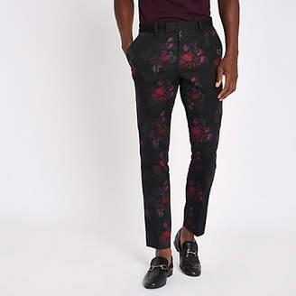 River Island Black floral skinny suit pants