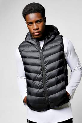boohoo Black Hooded Gilet With Chevron Quilting