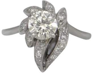 14k White Gold 0.78Ct Round Diamond Engagement Leaves Ring
