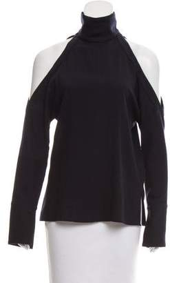 Tibi Cold-Shoulder Wool Top