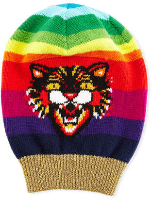 Gucci Wool Beanie Hat with Angry Cat Motif