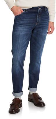Brunello Cucinelli Men's Medium-Wash Slim-Fit Denim Jeans