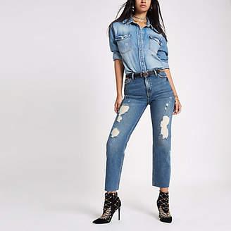 River Island Womens RI 30 mid blue ripped denim boyfriend jeans