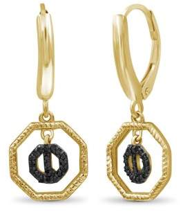 Black Diamond Jewelersclub JewelersClub Accent 14K Gold Over Silver Octagon Earrings