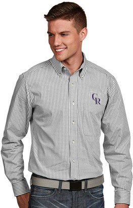 Antigua Men's Colorado Rockies Associate Plaid Button-Down Shirt