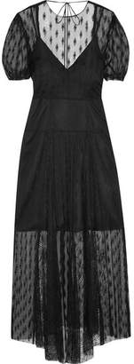 Maje Open-back Embroidered Lace Midi Dress - Black