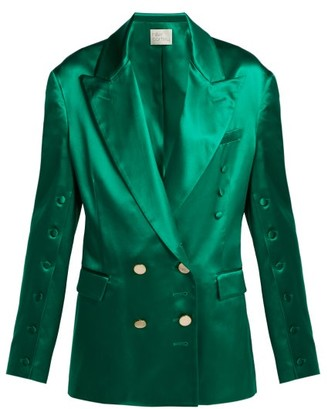 Hillier Bartley Oversized Silk Double Breasted Blazer - Womens - Green