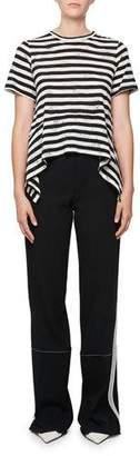 Proenza Schouler Short-Sleeve Striped Cotton T-Shirt