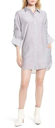 Trouve Trouv? Stripe Cotton & Silk Shirtdress