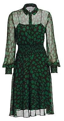 Akris Punto Women's Leo-Print Sheer Ruched Waist Dress