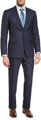 Brioni Pin-Dot Striped Super 160s Wool Two-Piece Suit, Navy