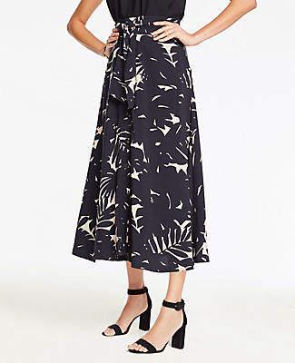 Ann Taylor Petite Midnight Jungle Tie Waist Maxi Skirt