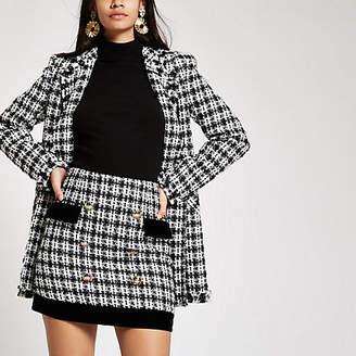 River Island Black boucle velvet trim mini skirt