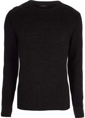 River Island Mens Dark Grey muscle fit ribbed jumper