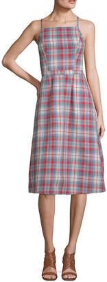 Arizona Sleeveless Plaid Shift Dress-Juniors