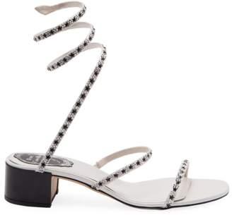 3c4acf58e40 Rene Caovilla Crystal Star Ankle-Wrap Block Heel Sandals