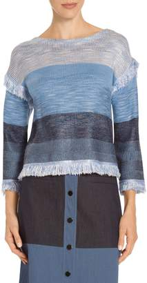 St. John Plaited Rack Rib Knit Striped Sweater