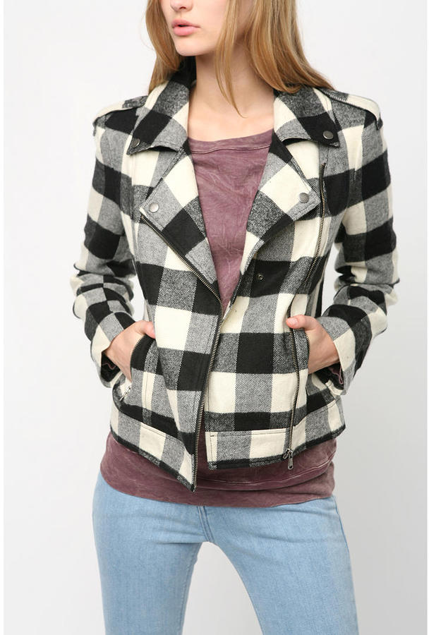 Silence & Noise Plaid Wool Moto Jacket