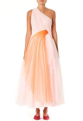 Carolina Herrera One-Shoulder Draped Tulle Dress
