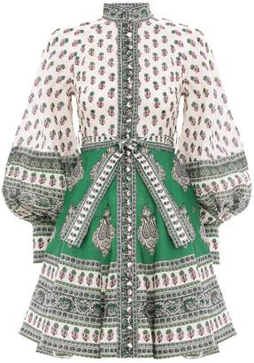 Zimmermann Amari Emerald Buttoned Dress in Green Paisley