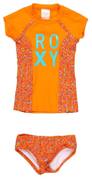 Roxy Kids - Sand Blossom Rashguard Set (Toddler/Little Kids) (Bondi Orange) - Apparel