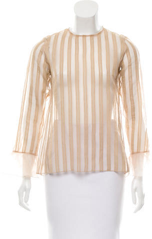 Marc Jacobs Marc Jacobs Lace-Trimmed Sheer Top