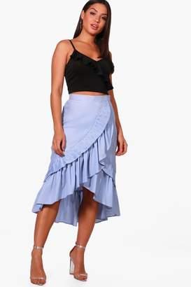 boohoo Rosie Ruffle Front Dipped Hem Midi Skirt