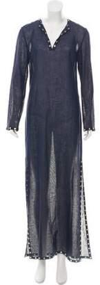 Michael Kors Linen Embellished Dress gold Linen Embellished Dress