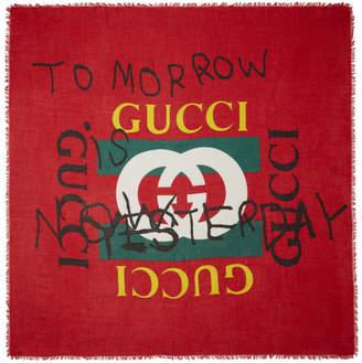 Gucci Red Tomorrow Logo Shawl