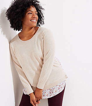LOFT Plus Foliage Mixed Media Sweater
