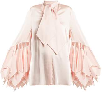 Christopher Kane Handkerchief-sleeve satin blouse