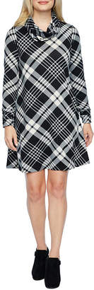 R & K Originals Long Sleeve Plaid A-Line Dress-Petite