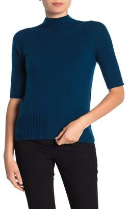 Magaschoni M BY Elbow Sleeve Jersey Mock Neck Cashmere Pullover