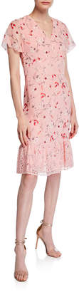 Mikael Aghal Floral-Print Flounce-Hem Dress